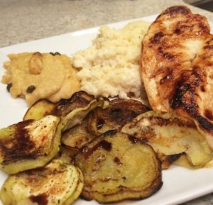 Balsamic Grilled Chicken & Eggplant w/ Goat Cheese Couscous