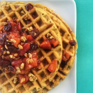 Grape-Nuts Waffle w/ Peach and Cranberry Compote