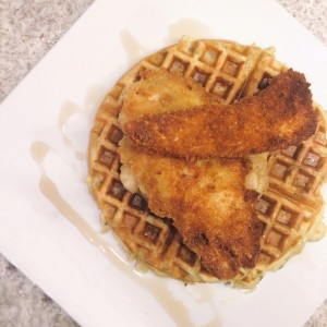 Potato & Chive Waffles and Fried Chicken w/ Apple Honey Compote