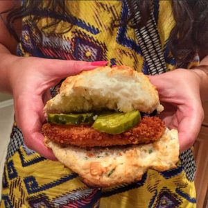 Homemade Fried Chicken & Cheddar Chive Biscuit Sandwich