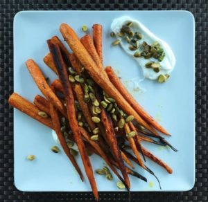 Cumin Roasted Carrots w/ Honey Greek Yogurt & Pistachios